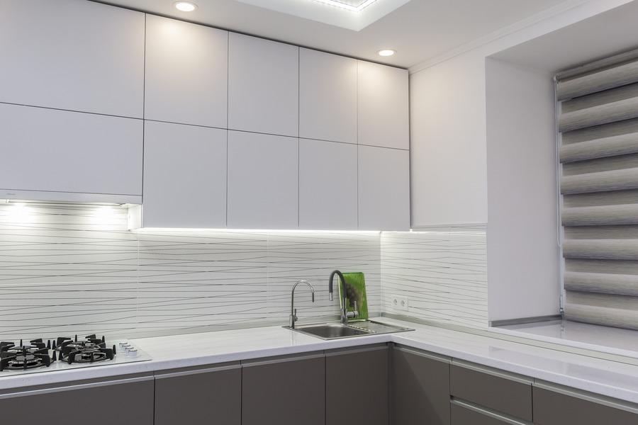 Белый кухонный гарнитур-Кухня МДФ в ПВХ «Модель 9»-фото3