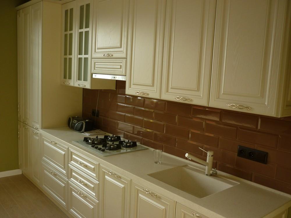 Белый кухонный гарнитур-Кухня МДФ в эмали «Модель 308»-фото2
