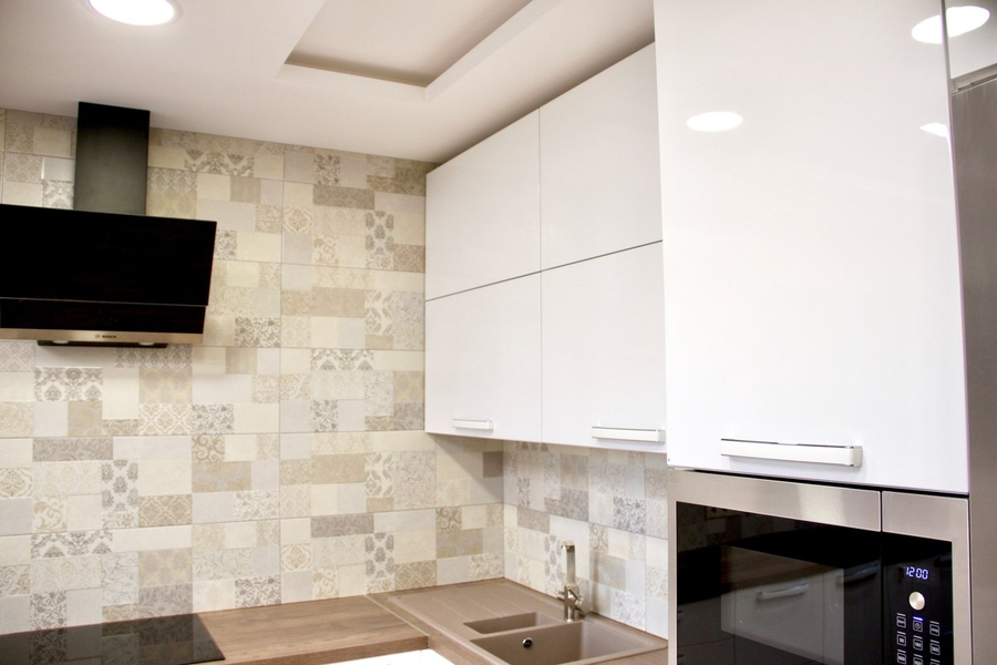 Белый кухонный гарнитур-Кухня МДФ в эмали «Модель 289»-фото5