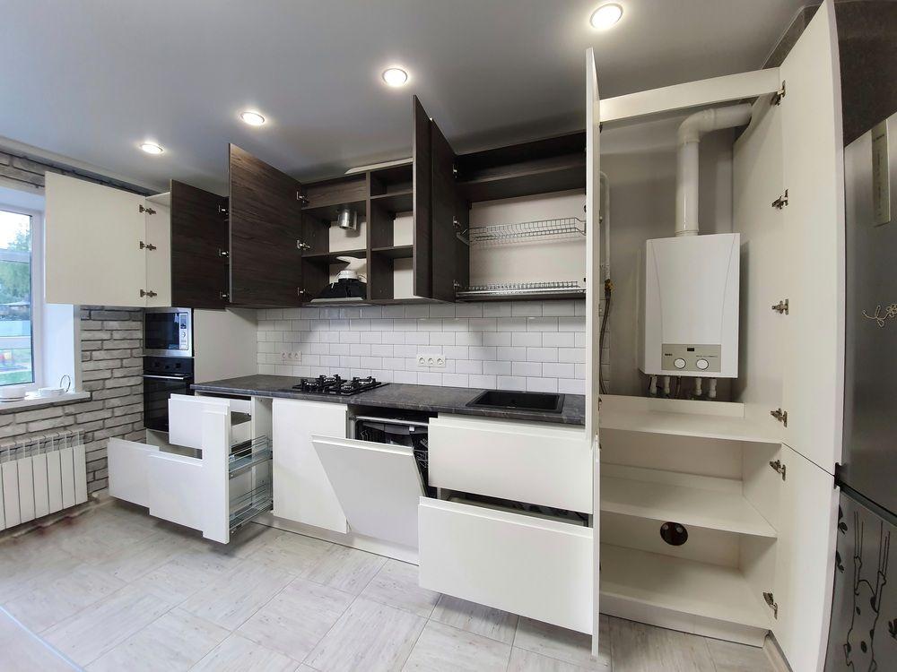 Белый кухонный гарнитур-Кухня МДФ в эмали «Модель 541»-фото6