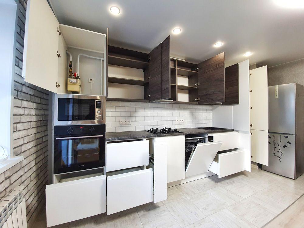 Белый кухонный гарнитур-Кухня МДФ в эмали «Модель 541»-фото4