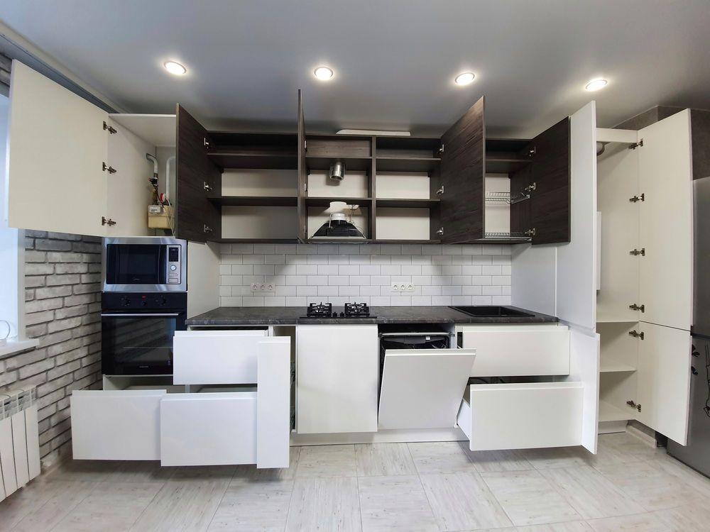 Белый кухонный гарнитур-Кухня МДФ в эмали «Модель 541»-фото5