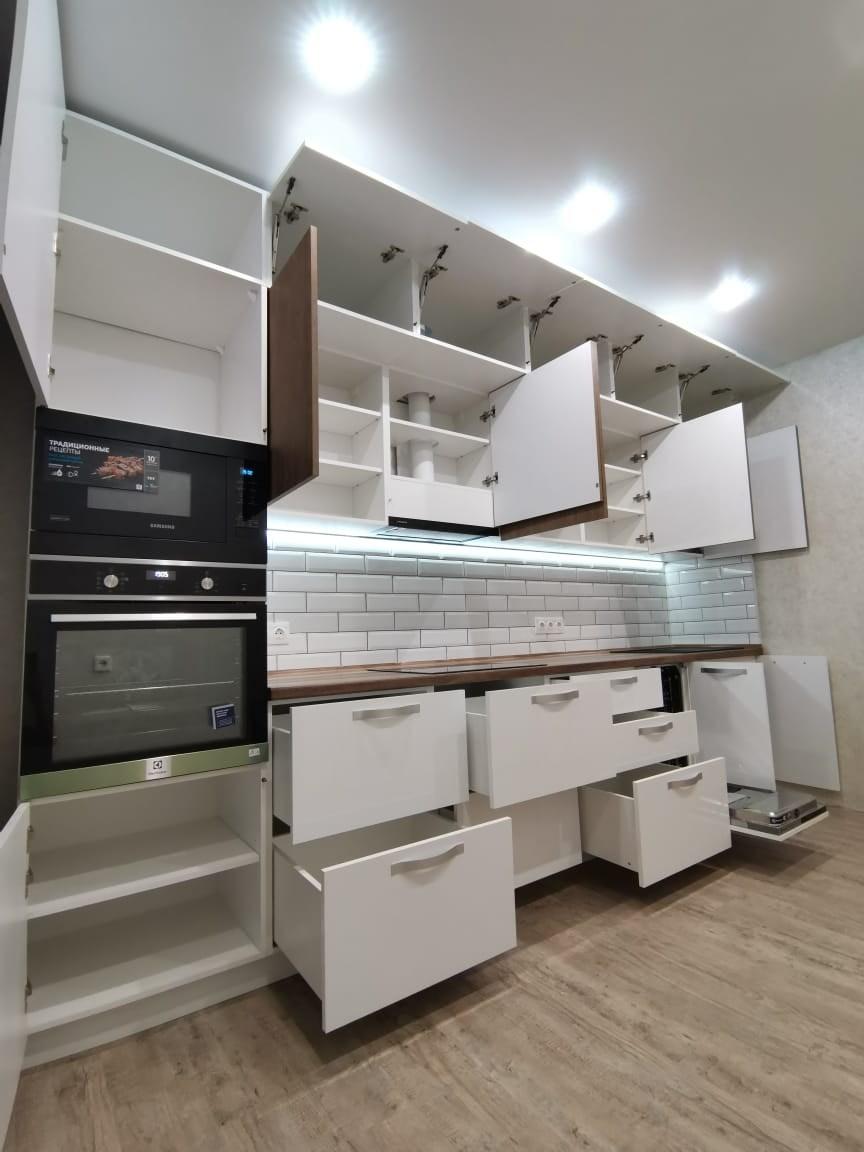 Белый кухонный гарнитур-Кухня МДФ в ПВХ «Модель 577»-фото4